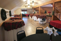 Upstairs set up for a Christmas party